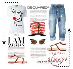 """""""Woman in Sandals"""" by conch-lady ❤ liked on Polyvore featuring Dsquared2 and summersandals"""