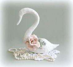 Swan Figurine White Swan Decor Bird Art Bird by afloralaffair