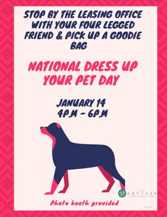 Get ready for National Dress Up Your Pet Day! Bring your furry friend dressed in their best to the leasing office on January for a photo shoot. Everyone deserves the chance to get dolled up, even your pet! Leasing Office, Pet Day, Fun At Work, Luxury Apartments, Property Management, Photo Booth, Your Pet, The Neighbourhood, Atlanta
