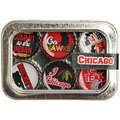 Chicago Blackhawks Hockey Bottle Cap 6 pc Magnet Set w/ Case $13.99 Shipped Free From Amazon!