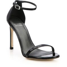 Stuart Weitzman Nudistsong Patent Leather Sandals ($420) ❤ liked on Polyvore featuring shoes, sandals, apparel & accessories, black patent, stuart weitzman shoes, black patent shoes, strap sandals, ankle tie sandals and padded sandals