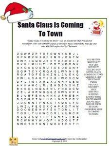 Santa Claus Is Coming To Town Word Search - printable word search puzzle for Christmas Xmas Games, Holiday Games, Christmas Party Games, Christmas Activities, Christmas Projects, Holiday Fun, Christmas Trivia, Holiday Festival, Christmas Ideas