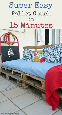 How to make a super easy pallet couch using pallets and rope. Quick and easy without breaking the bank, Quickly Make a Super Easy Pallet Couch theboondocksblog.com