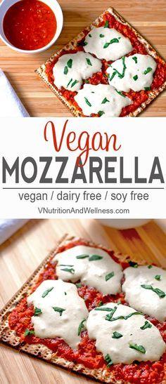 Vegan Mozzarella Cheese Alternative | This vegan mozzarella cheese alternative is a great way to have a tasty pizza without dairy! | vegan mozzarella, vegan cheese recipe, vegan pizza via /VNutritionist/
