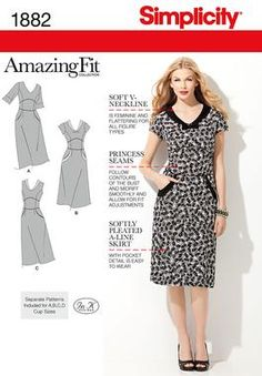 1882 Misses' Amazing Fit Dresses  Misses' Amazing Fit dress with separate pattern pieces for A, B, C, D cup sizes and slim, average and curvy fit.