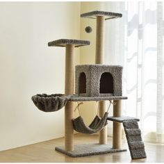 Cat Activity Tree with Scratching Posts,Multi-Level Cat Tree with Sisal-Covered Scratching Posts, Plush Perches, Hammock and Condo, Cat Tower Furniture Cool Cat Beds, Diy Cat Tower, Tree Furniture, Cat Towers, Kitten Care, Cat Scratcher, Cat Room, Cat Wall, Cat Tree