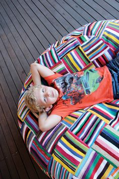 Inspire me to do so, patchwork beanbag Handwoven South African Bean Bag by Ashanti Design