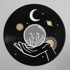 Excited to share this item from my shop: The Starman Record Collection - Hand painted vinyl records/wall decor/painted record/custom wall art drawing The Sun Painted Record - Hand painted vinyl records/wall decor/painted record/custom wall art Aesthetic Painting, Aesthetic Art, Aesthetic Yellow, Inspiration Art, Art Inspo, Art Cd, Record Wall Art, Record Decor, Vinyl Records Decor