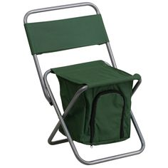 Flash Furniture Kids Folding Camping Chair with Insulated Storage in Green [TY1262-GN-GG]
