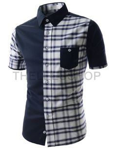 00d255a0a2108f Mens Slim Fit Two Tone Checker Pattern Chest Pocket Short Sleeve Shirts