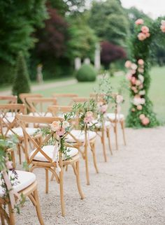 romantic outdoor wedding aisle chair decoration ideas wedding chairs 40 Romantic Blush Pink Wedding Ideas for Spring/Summer 2020 - Oh Best Day Ever Wedding Aisle Outdoor, Wedding Ceremony Chairs, Outdoor Weddings, Garden Weddings, Indoor Wedding, Chairs For Wedding, Outdoor Wedding Ceremonies, Wedding Arches, Ceremony Backdrop