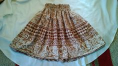 Brown and cream hula pa'u, hula skirt by SewMeHawaii on Etsy