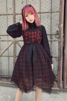 ✨✨ #LolitaUpdate: [-☸❤♆-Metal Vivian-☸❤♆-] Gingham Lolita JSK Dress