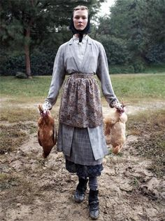 headscarves go wonderfully with dead chickens