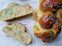 What do you get when you mix a ton of colorful rainbow sprinkles with challah dough? A funfetti challah with sprinkles that's as delicious as it is beautiful, perfect for Pride Shabbat (or any Shabbat really!) and to keep the party going made even more delicious on Sunday when turned into French toast! When you slice into it, there's a gorgeous watercolor effect that happens where the sprinkles melt into the dough. Don't you just love sprinkles and the magic they create? Not to mention the… Extra Light Olive Oil, Light Golden Brown, Egg Wash, Rainbow Sprinkles, Oven Racks, Challah, Bread Baking, Bakery, Pride