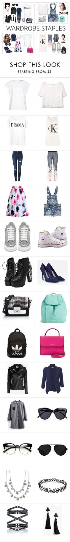 """""""Wardrobe Staple: White T-Shirt"""" by samanta-samulyte on Polyvore featuring Hahn, MANGO, Junk Food Clothing, Calvin Klein, Miss Selfridge, Ted Baker, Relaxfeel, Alexander McQueen, Converse and CHARLES & KEITH"""