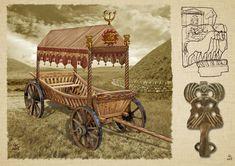 A Scythian wheeled vehicle by Евгений Край Vikings Time, Sca Armor, Friedrich Ii, Medieval Furniture, Primitive Survival, Iron Age, Wheelbarrow, Ancient Egypt, Warfare