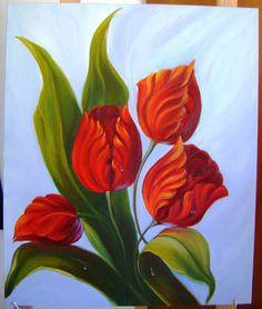 Resultado de imagem para tela óleo tulipas vermelhas
