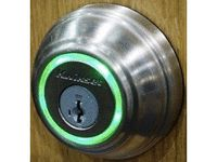 Kwikset Kevo Bluetooth Door Lock works with an iPhone app to unlock your doors.