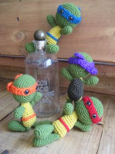 teenage mutant ninja turtles by ChristinasYarnCrafts on Etsy. i have michelangelo and he makes me laugh :]