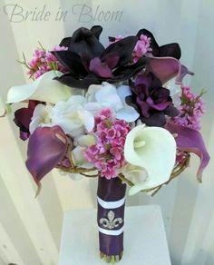 Bride in bloom wedding bouquet, just add some orange calalillies