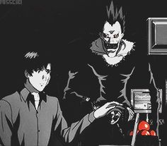"""Matsuda and Ryuk from """"Death Note"""" fighting over an apple.  How did I forget this moment?  XD"""