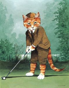Golfing by Susan Herbert from Victorian Cats
