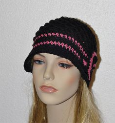 Cancer awareness hat, Crochet Melanoma or Breast Cancer hat , with cancer logo. This crochet cap is black with light pink trim. Comfortable while going thru treatments.…