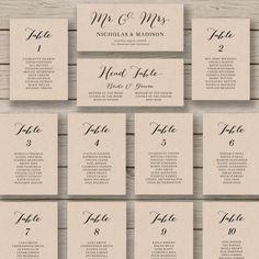 Wedding Seating Chart Template - Printable Seating Chart - Editable Table Plan…