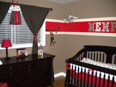 Sock monkey inspiration--I actually love this baby room! There will be no plain pink or blue in my house after Pinterest : )