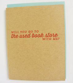 Used Bookstore letterpress greeting card: Will by greymoggiepress