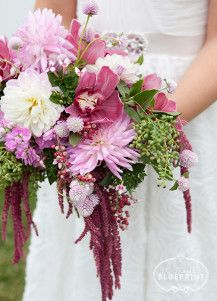What a beautiful cascading DIY wedding bouquet made from wildflowers!
