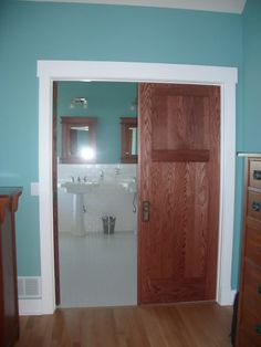 Diy craftsman door trim tutorial on how to update old for Pros and cons of sliding glass doors