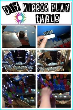 easy DIY mirror table and tells why to use mirrors for play
