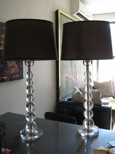 Tired of your standard floor lamp grab this updated arc lamp with stacked crystal ball table lamps with black shades mozeypictures Choice Image