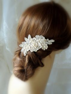 Wedding Hair Comb Bridal Ivory Accessories Champagne Pearl Clip Lace Piece