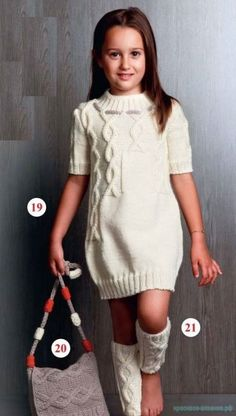 Screenshot By Lightshot - Diy Crafts Girls Knitted Dress, Knit Dress, Knitting For Kids, Baby Knitting, Baby Dress Tutorials, White Sweater Dress, Pullover Mode, Kids Outfits, Cute Outfits
