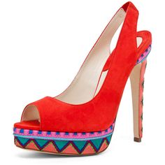 Brian Atwood Aliyza Open Toe Pump Red found on Polyvore