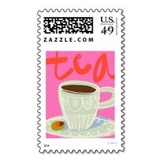 Abstract teacup on pink stamp