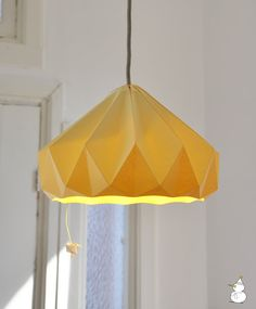 Origami lamp shade? Yes please!  Chestnut paper origami lampshade Canary Yellow by nellianna, €89.00
