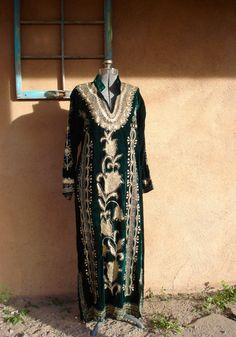 Vintage 1960s Velvet Caftan Green Metallic by bycinbyhand on Etsy, $225.00