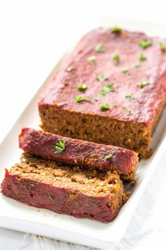 The best vegan quinoa meatloaf recipe made with lentils, mushrooms and walnuts, topped with a healthy tomato and maple syrup glaze.