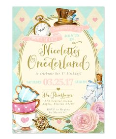 Alice In Wonderland (onederland) Girl's Birthday Party Invitation - First Birthday, Any Age Girl Birthday Invite, Mad Tea Party Invite 1st Birthday Party Invitations, Girl Birthday Themes, Girl First Birthday, First Birthday Parties, First Birthdays, Birthday Ideas, Frozen Birthday, Invitations Kids, Wedding Invitations