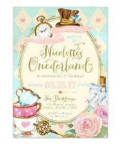 Alice in Wonderland {Onederland}: Girl's 1st, First Birthday Party Invitation
