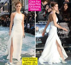 Loving it   Emma Watson made a glam entrance at the Noah premiere in London on March 31, where the year-old stepped out at Odeon Leicester Square in a breathtaking Ralph Lauren Collection gown. The high halter neckline was balanced out by a thigh-high slit that allowed the star to show off a lot of leg when she made her way down the water-print carpet.