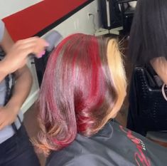 Pressed Natural Hair, Dyed Natural Hair, Dyed Hair, Teal Hair, Hair Color For Black Hair, Black Girl Red Hair, Feed In Braids Hairstyles, Crown Hairstyles, Sunset Hair