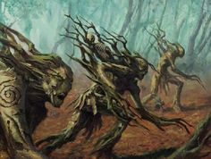 Warhammer Dryads working on a Tau Empire with Dryads soldiers Forest Creatures, Fantasy Creatures, Mythical Creatures, Warhammer Wood Elves, Warhammer Fantasy, Fantasy World, Fantasy Art, Tree Monster, Forest Plants