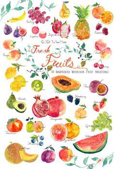 watercolor fruit step by step ; watercolor fruits and vegetables ; Fruit And Veg, Fruits And Veggies, Fresh Fruit, Fruits Basket, Vegetables List, Citrus Fruits, Tropical Fruits, Fruit Illustration, Food Illustrations