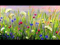Very easy painting - landscape with wild flowers. Step by step oil painting tutorial or acrylics - YouTube