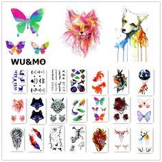 Colorful Flower Animals Dogs Body Art Sexy Harajuku Waterproof Temporary Tattoo For Man Woman Henna Fake Flash Tattoo Stickers